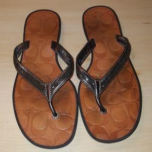 Authentic Leather Coach Flip Flops Size 6.5